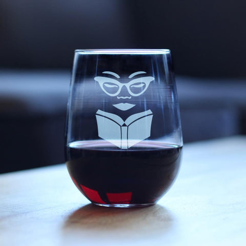 Image of Book Reading Woman - 17 Ounce Stemless Wine Glass