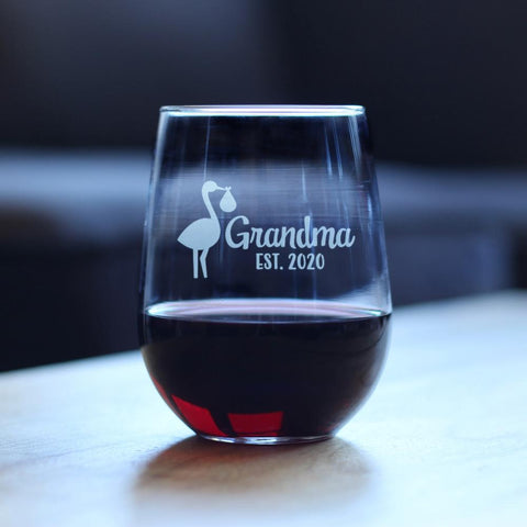 Stork Grandma Est. 2020 - 17 Ounce Stemless Wine Glass