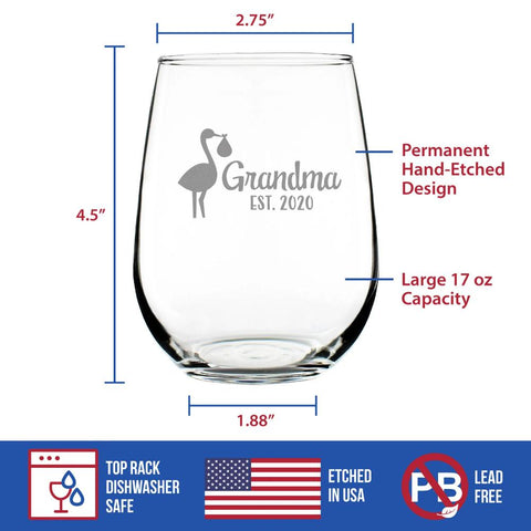 Image of Stork Grandma Est. 2020 - 17 Ounce Stemless Wine Glass