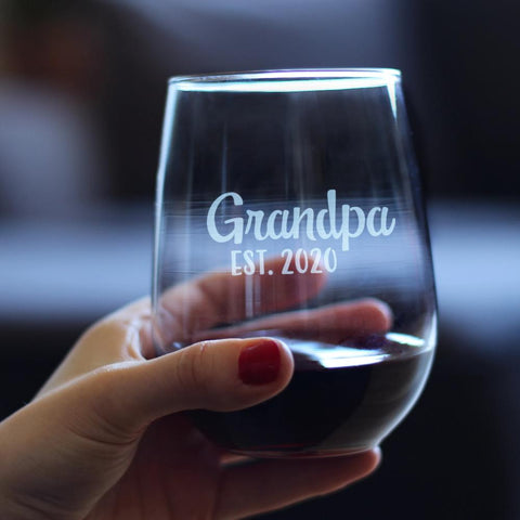 Stork Grandpa Est. 2020 - 17 Ounce Stemless Wine Glass