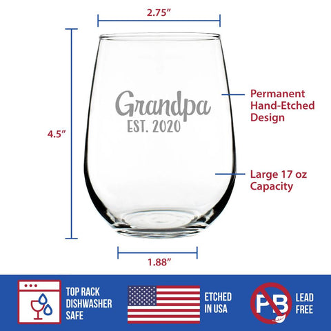 Image of Stork Grandpa Est. 2020 - 17 Ounce Stemless Wine Glass
