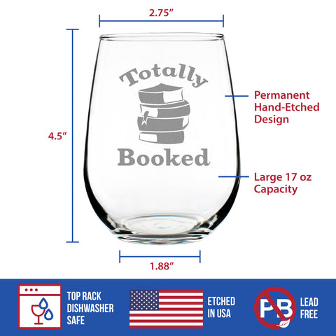 Image of Totally Booked - 17 Ounce Stemless Wine Glass