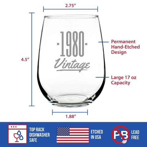 Vintage 1980 - 17 Ounce Stemless Wine Glass
