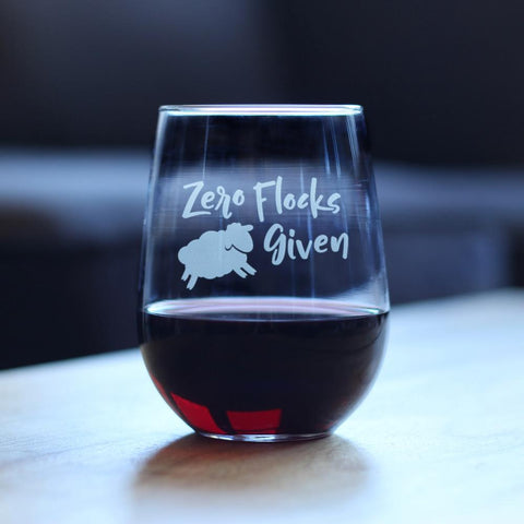 Image of Zero Flocks Given Sheep - 17 Ounce Stemless Wine Glass