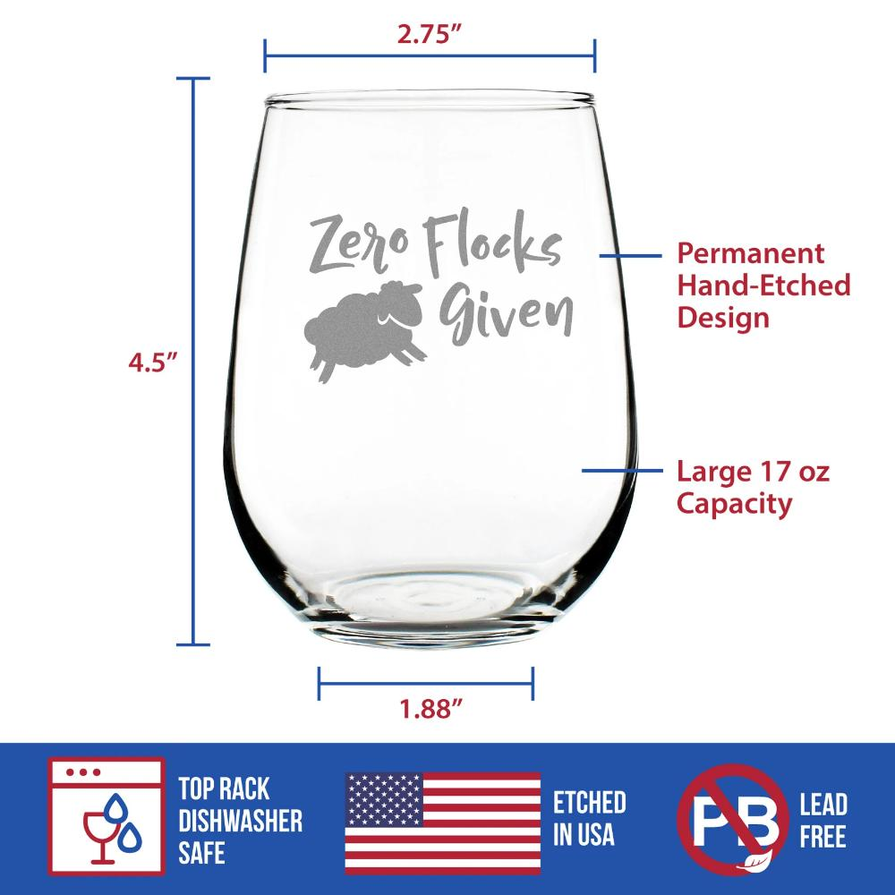 Zero Flocks Given Sheep - 17 Ounce Stemless Wine Glass