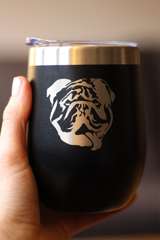 English Bulldog Face - Wine Tumbler