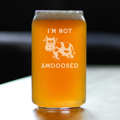 Image of I'm Not Amooosed - 16 Ounce Beer Can Pint Glass