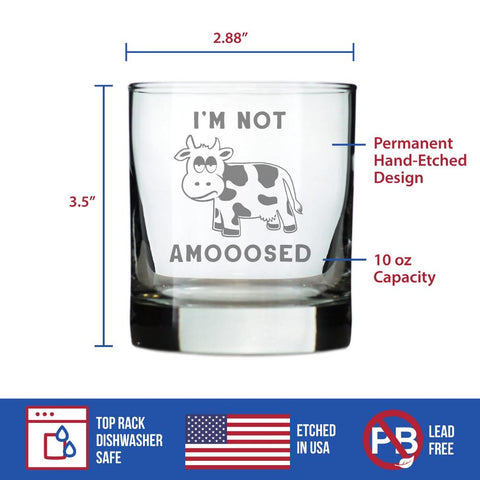 Image of I'm Not Amooosed - 10 Ounce Rocks Glass