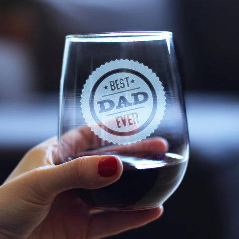 Image of Best Dad Ever - 17 Ounce Stemless Wine Glass