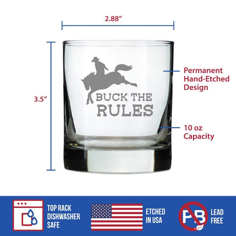 Buck the Rules - 10 Ounce Rocks Glass