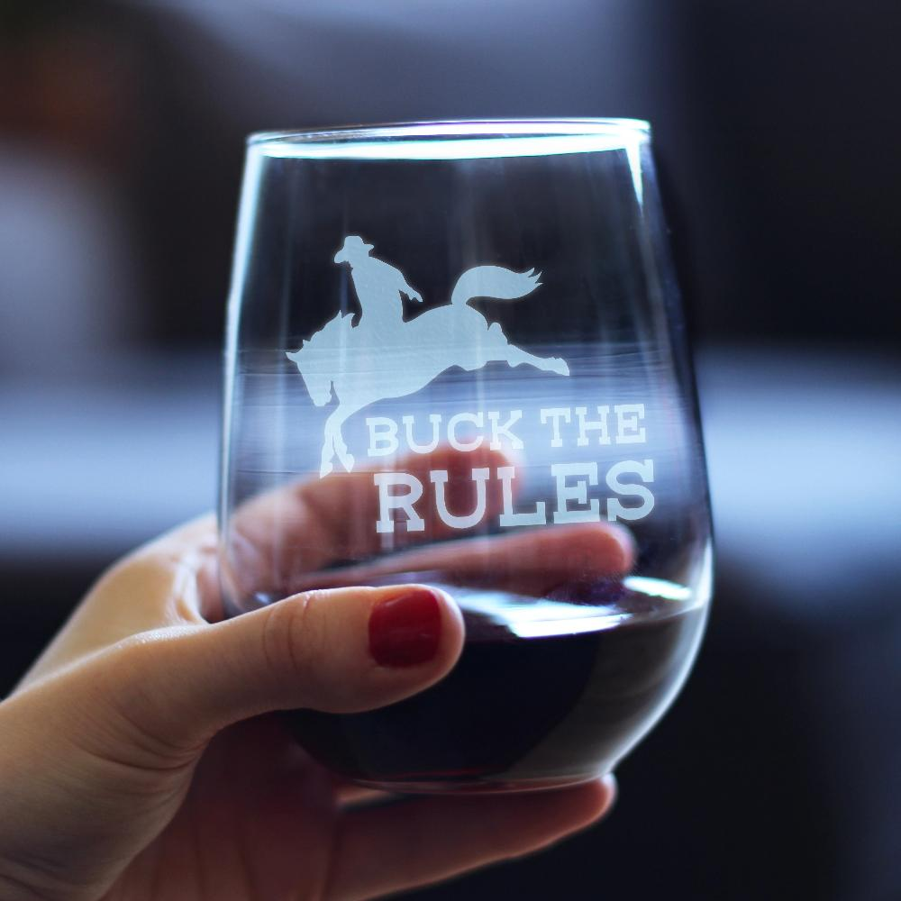 Buck the Rules - 17 Ounce Stemless Wine Glass