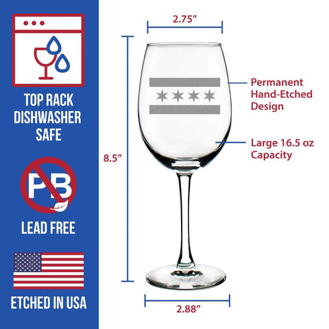 Image of Chicago Flag - 16.5 Ounce Stem Wine Glass