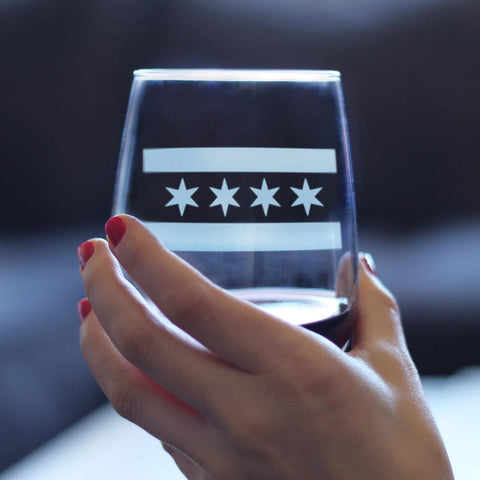 Image of Chicago Flag - 17 Ounce Stemless Wine Glass