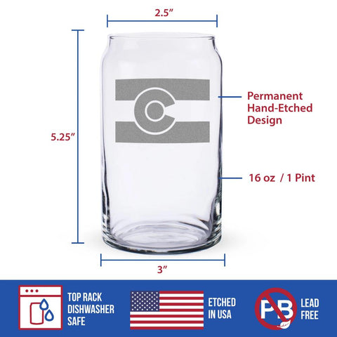 Colorado Flag - 16 Ounce Beer Can Pint Glass