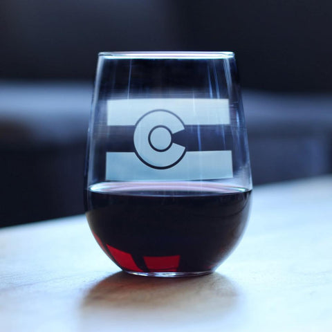 Colorado Flag - 17 Ounce Stemless Wine Glass