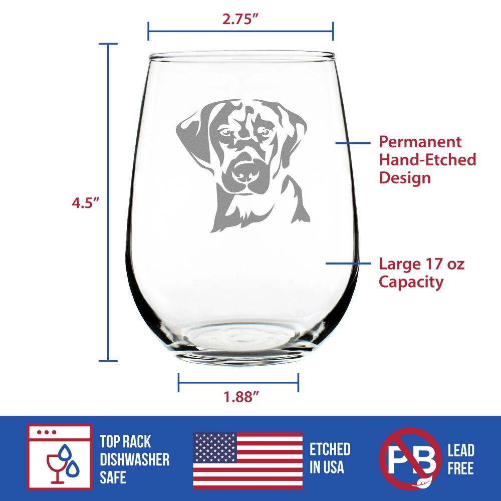 Labrador Face - 17 Ounce Stemless Wine Glass