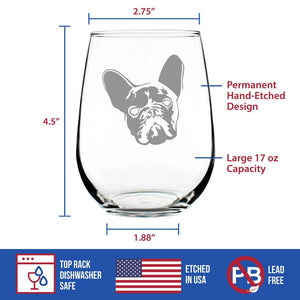 French Bulldog - 17 Ounce Stemless Wine Glass