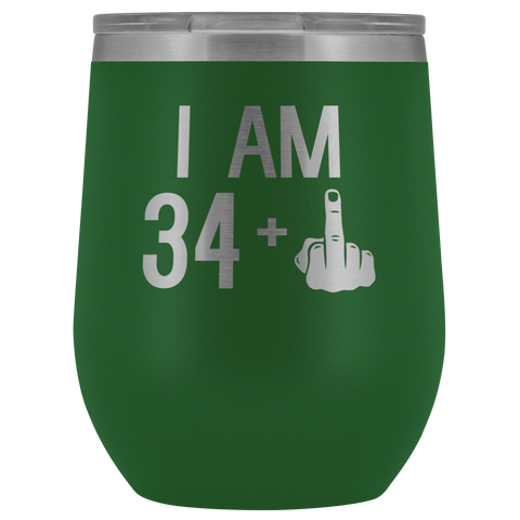 34 + 1 Middle Finger - Wine Tumbler