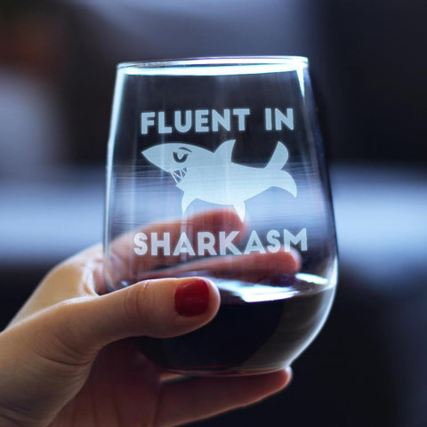 Image of Fluent in Sharkasm™ - 17 Ounce Stemless Wine Glass