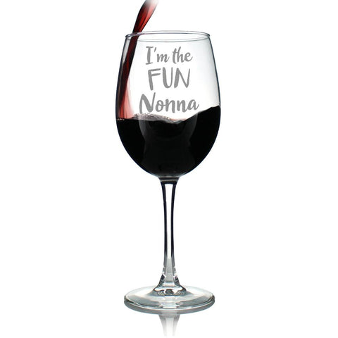 Image of I'm the Fun Nonna - 16.5 Ounce Stem Wine Glass