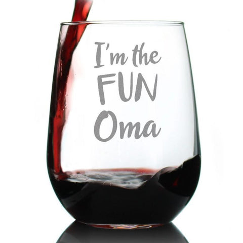 I'm the Fun Oma - 17 Ounce Stemless Wine Glass