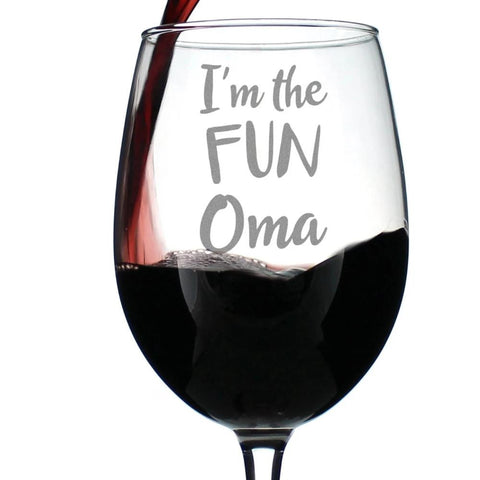 I'm the Fun Oma - 16.5 Ounce Stem Wine Glass