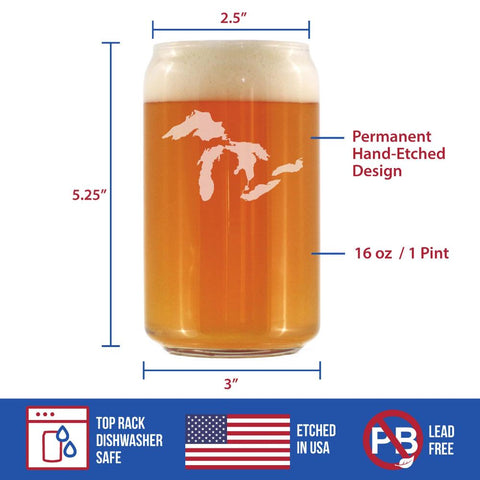 Image of Great Lakes - 16 Ounce Beer Can Pint Glass