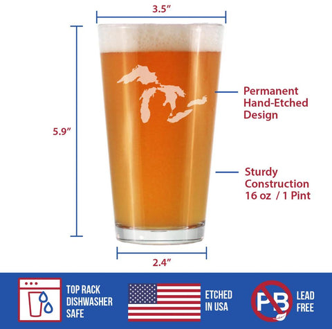 Image of Great Lakes - 16 Ounce Pint Glass