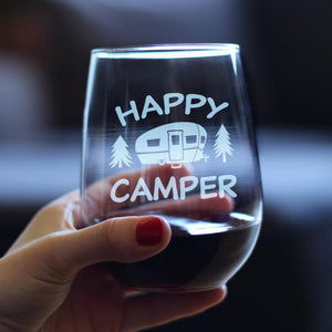 Happy Camper - 17 Ounce Stemless Wine Glass