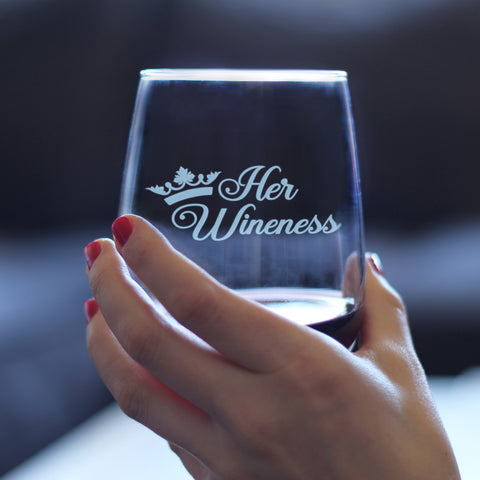 Image of Her Wineness - 17 Ounce Stemless Wine Glass