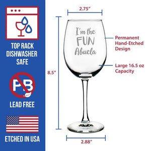 I'm the Fun Abuela - 16.5 Ounce Stem Wine Glass