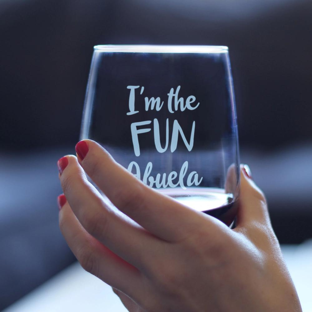 I'm the Fun Abuela - 17 Ounce Stemless Wine Glass