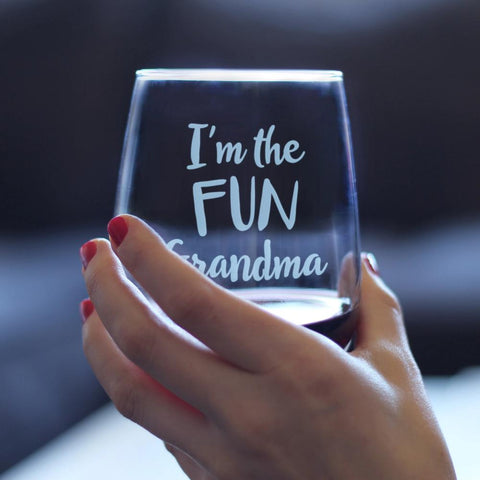 Image of I'm the Fun Grandma - 17 Ounce Stemless Wine Glass