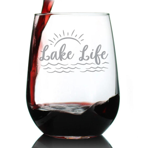 Lake Life Sunset - 17 Ounce Stemless Wine Glass