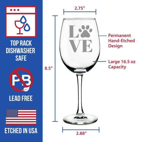 LOVE Paw Print - 16.5 Ounce Stem Wine Glass