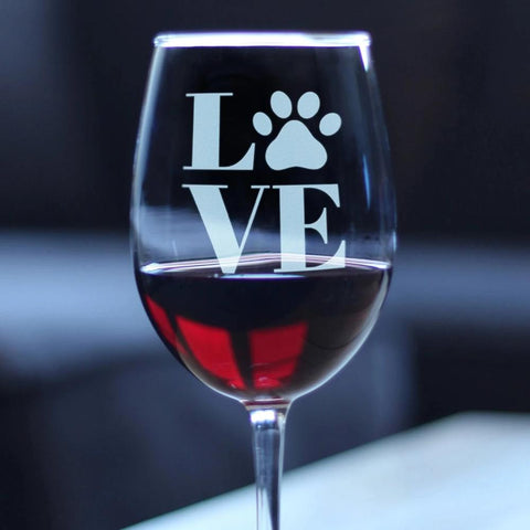 Image of LOVE Paw Print - 16.5 Ounce Stem Wine Glass