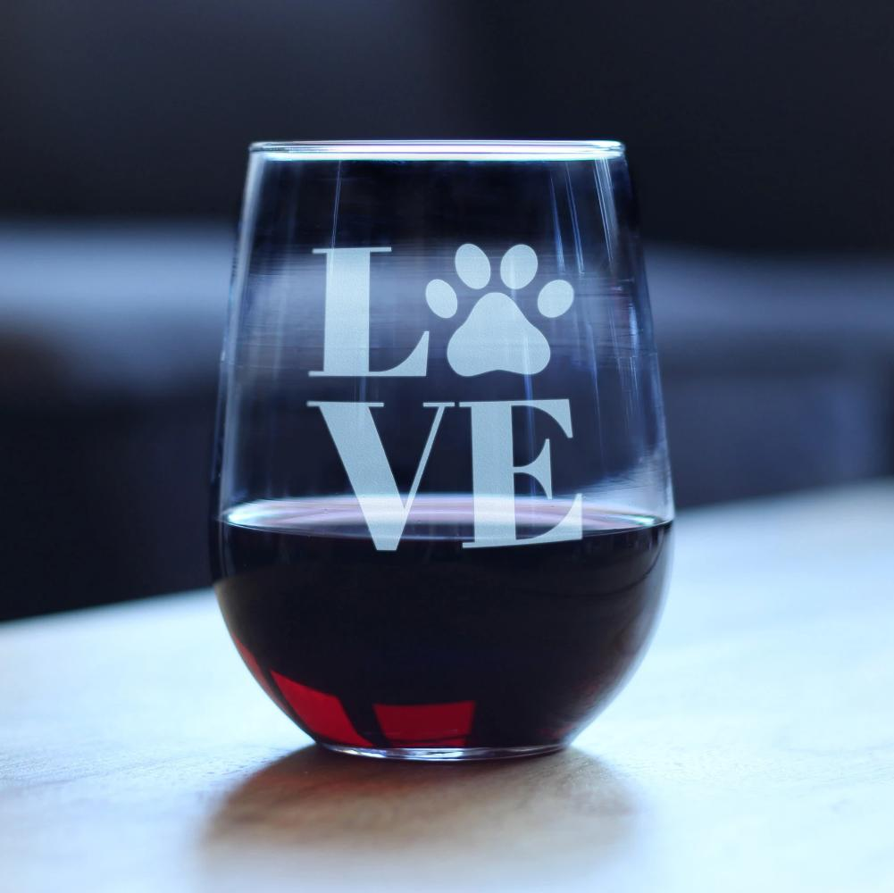 LOVE Paw Print - 17 Ounce Stemless Wine Glass