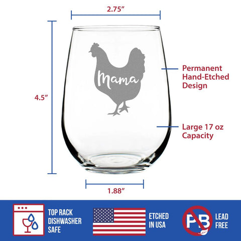 Mama Hen - 17 Ounce Stemless Wine Glass