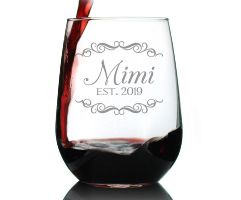 Mimi Est. 2019 - 17 Ounce Stemless Wine Glass