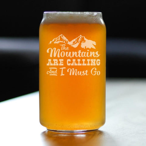 Image of Mountains Are Calling - 16 Ounce Beer Can Pint Glass