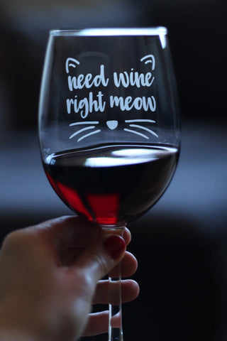 Need Wine Right Meow ™ - 16.5 Ounce Stem Wine Glass