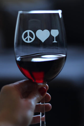 Peace Love Wine - 16.5 Ounce Stem Wine Glass