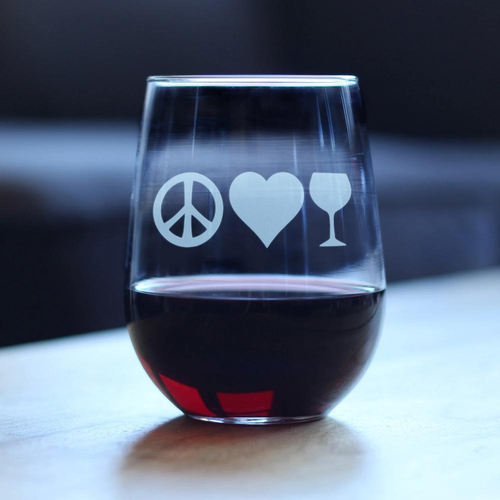 Peace Love Wine - 17 Ounce Stemless Wine Glass