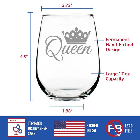 Queen - 17 Ounce Stemless Wine Glass