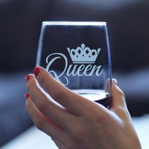 Image of Queen - 17 Ounce Stemless Wine Glass