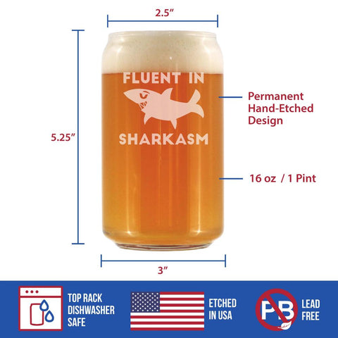 Image of Fluent in Sharkasm™ - 16 Ounce Beer Can Pint Glass