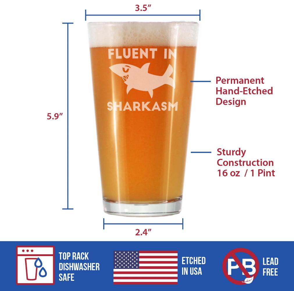 Fluent in Sharkasm™ - 16 Ounce Pint Glass