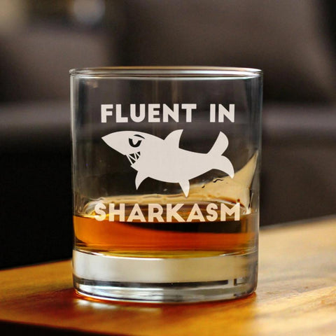 Fluent in Sharkasm™ - 10 Ounce Rocks Glass