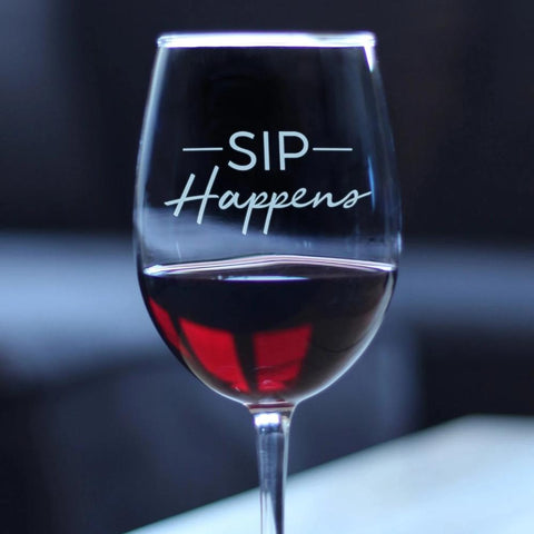 Sip Happens - 16.5 Ounce Stem Wine Glass