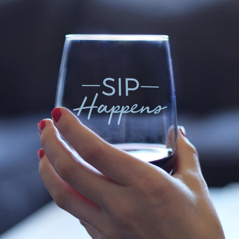 Sip Happens - 17 Ounce Stemless Wine Glass